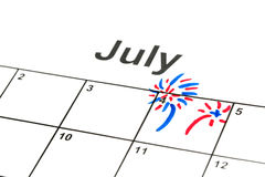 4th of July. Marked on a calendar Royalty Free Stock Photography