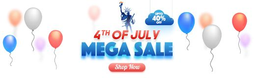 4th of July, Mega Sale web banner design with balloons, statue o. F liberty, and 40% off offer Royalty Free Stock Photo