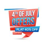 4th of July Offers, 40% Off Offers on white background. 4th of July Offers, Flat 40% Off Offers on white background Royalty Free Stock Images