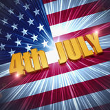 4th of July over shining american flag. 4th of July - 3d golden text with shining american flag, usa independence holiday concept Stock Image