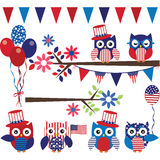 4th Of July Owl with Branch Collection. The vector for 4th Of July Owl with Branch Collection vector illustration