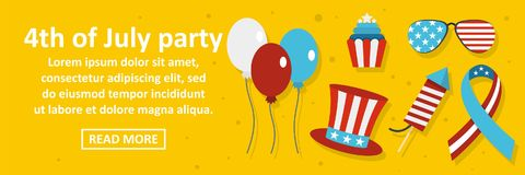 4th of july party banner horizontal concept. Flat illustration of 4th of july party banner horizontal vector concept for web design Stock Images