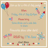 4th of July Party Invitation. Invite vector illustration