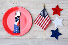 4th of July Picnic Table With Flag Stock Images