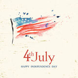 4th of July. Poster, banner or flyer design with stylish text 4th of July on abstract American national flag for Independence Day celebrations in vintage style Royalty Free Stock Photography