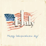 4th of July. Poster, banner or flyer design with stylish text 4th of July on abstract American national flag for Independence Day celebrations in vintage style Stock Photography