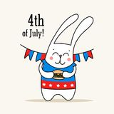 4th of July poster with cute white bunny holdes hamburger in his hands. Happy Independence Day vector flat illustration card. Cute animal cartoon flat vector royalty free illustration