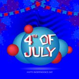 4th of July, poster, banner or flyer design on waves background. 4th of July, poster, flyer or banner design on waves background Royalty Free Stock Photo