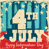 4th of July Poster. Fourth of July mnemonic on a red and blue wall and floor grunge background with stars and stripes in retro flag colors Royalty Free Stock Photo