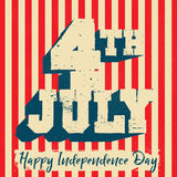 4th of July Poster. Fourth of July mnemonic on a red vertical striped background stock illustration
