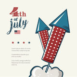4th of July poster. Grunge retro metal sign with fireworks. Independence day. Celebration flyer. Vintage mockup. Old Stock Image