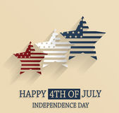 4th of July poster. Independence Day. Red, white and blue stars Stock Photography