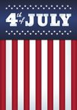 4th of july poster. Vector design. Text `4th of July`. Abstract background. USA flag style. 50 stars, 13 stripes. Vertical format A4. Blue, red and white colors Stock Image