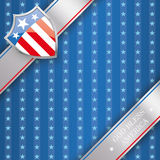 4th July Protection Shield 3 Banners Stars Stripes. Independence day flyer with silver protection shield royalty free illustration