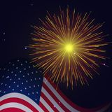 4th of July radiant golden fireworks. United States flag and radiant golden fireworks vector background. Independence Day, 4th of July holidays salute greeting royalty free illustration