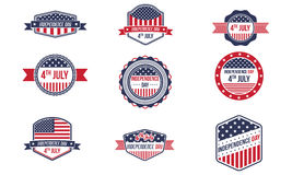 4th Of July Retro Badges. This retro badges pack, is great to used as an elements on your 4th of July design concept Stock Images