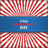 4th july retro banner. Independence day retro flyer with blue banner Royalty Free Stock Image