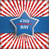 4th July retro Banner Silver Star Royalty Free Stock Photography