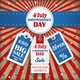 4th july retro emblem price stickers. Independence day retro flyer with blue banner Stock Image