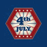 4th of July - retro label Stock Image