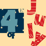 4th of July retro poster design Royalty Free Stock Photos
