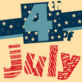4th of July retro poster design. Fourth of July poster designed in retro style stock illustration