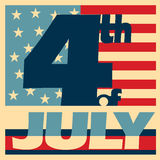 4th of July retro poster design. Fourth of July poster designed in retro style Stock Image
