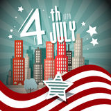 4 th July Retro Vector Illustration Stock Image