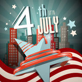 4 th July Retro Vector Illustration with Flag Royalty Free Stock Images