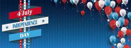 4th July Ribbon Balloons Stars Blue Vintage Header. Vintage header with striped background, balloons and ribbon for the 4th of july Royalty Free Stock Photos