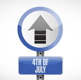 4th of July road sign concept illustration. Design isolated over white Royalty Free Stock Photo