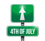 4th of July road sign concept illustration design. Isolated over white Stock Photos