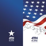 4th July Rushmore USA flag blue background. Greeting card banner vector royalty free illustration