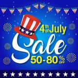 4th of july sale background,Independence day of United States of America  sale Background. Vector illustration of Uncle Sam hat, firework and sale text on blue Stock Photo