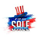 4th of July, Sale Banner Concept with 40% Off, and Hat in Americ. An Flag Colors on Grungy Colors Background Stock Image