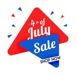 4th of July, sale banner design. Stylish text 4th of July, sale banner design Royalty Free Stock Photos