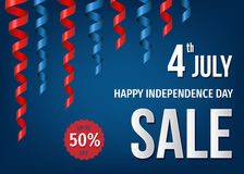4th of  July  sale banner  with festive twisted ribbons. Happy  Independence  Day of the USA. 4th of  July  sale banner  with festive twisted ribbons  in Stock Photo