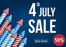 4th of  July  sale banner  with  firework  rockets. Independence  Day of  the USA. 4th of  July  sale banner  with  firework  rockets  on blue background. Up Royalty Free Stock Images