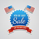 4th of July, Sale Concept with American Flag. 4th of July, Sale Concept with American Flag on Grey Background Royalty Free Stock Photo