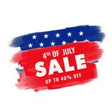 4th of July, Sale concept on brush stroke background. 4th of July, Sale concept on blue and red background Royalty Free Stock Photography