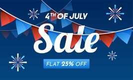 4th of July Sale concept with Flat 25% Off on bunting flag decor. Ation, and fireworks background Royalty Free Stock Photo