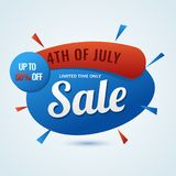 4th of July, Sale concept with 50% Off Offer on sky blue background.  Royalty Free Stock Photography