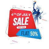4th of July, Sale concept with Statue of Liberty, and Flat 50% O. Ff Offer Stock Photos