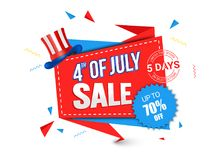 4th of July, Sale concept with 70% Off Offer. 4th of July, Sale concept, upto 70% Off Offer Stock Illustration