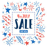 4th of July sale. Independence Day flyer. Vector hand drawn doodles. Template stock illustration