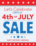 4th of July Sale. Let's Celebrate with a 4th of July Sale Stock Illustration