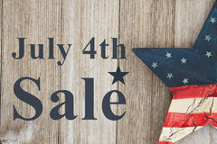 4th of July Sale message. 4th of July savings message, USA patriotic old star on a weathered wood background with text July 4th Sale Royalty Free Stock Photos