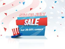 4th of July, Sale Offer with Hat on waving flag. 4th of July, Sale Offer with Hat on waving flag background Stock Images