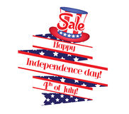 4th of july sale ribbon banner.  Royalty Free Stock Photo