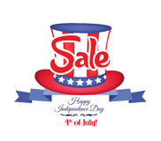 4th of july sale ribbon banner.  Royalty Free Stock Images